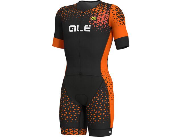 Alé Cycling Rush Tri Unitard Largo Manga Corta Hombre, black-flou orange